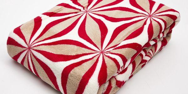 Kvalitní deka z mikrovlákna CASIOPEA 150x200 cm, červená, geometrický vzor Essex