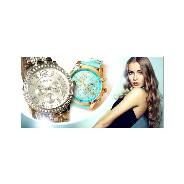 Dámské hodinky Geneva. Kožený pásek či celokovové provedení s krystalky + kvalitní strojek Quartz.