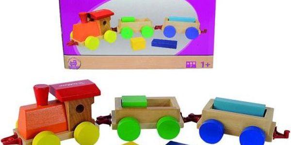 Veselý, barevný, dřevěný vláček s lokomotivou a 2 vagónky pro nejmenší