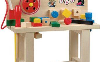 Bino Pracovní ponk s telefonem, dřevěná hračka rozvíjející šikovnost