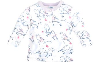 Pinokio Dívčí kabátek s ptáčky, 68 cm , Bílá