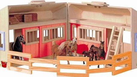Velká dřevěná stáj Woody, pro vaše domácí zvířátka, včetně příslušenství – plot, balíky slámy a žebřík