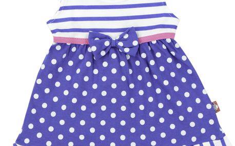 2be3 Dívčí šaty smašlí - modrobílé, 74 cm