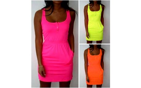 Letní šaty v neonových barvách Candy
