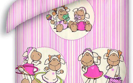 Halantex Dětské oboustranné povlečení Nici Ovečky, 140x200 cm - růžové, Růžová