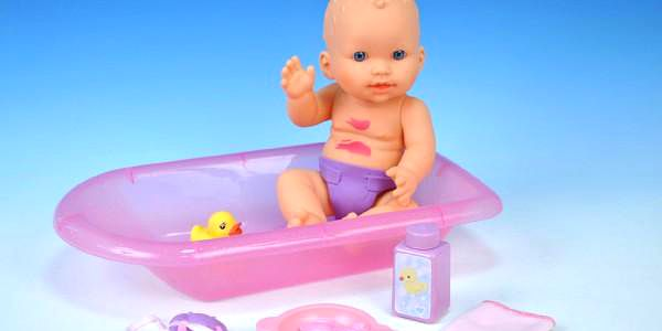 Špinavá panenka miminko s doplňky plast 30cm v krabici