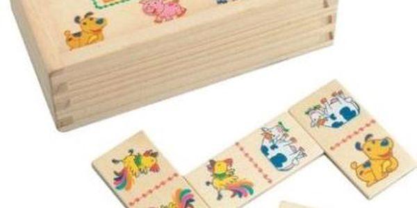 domino v dřevěném provedení s obrázky domácích zvířat