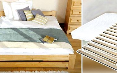 Masivní postele z přírodní borovice včetně roštu i matrace