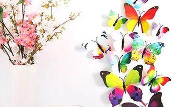 Různě barevní 3D motýlci - 12 kusů