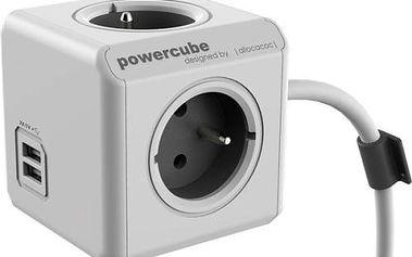 Kabel prodlužovací Powercube Extended USB, 3x zásuvka, 2x USB, 1,5m šedý/bílý