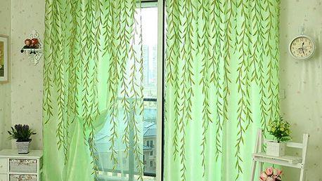 Záclona s motivy vrbových listů - dodání do 2 dnů
