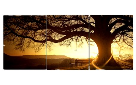 Obraz západu slunce ze tří částí - bez podložek a rámů