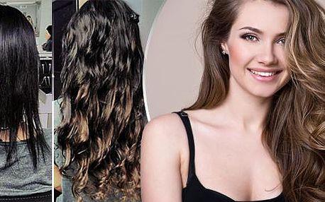 Prodloužení vlasů lidskými středoevropskými vlasy! Nasazení 100 pramenů tmavě/světlě hnědých nebo blonďatých vlasů!