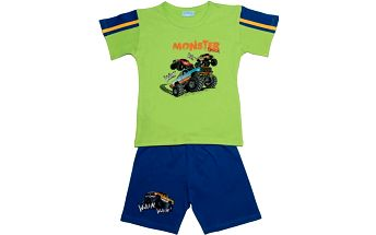 Pettino Chlapecké pyžamo s monster truckem - zelené, 98 cm