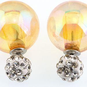 Fashion Icon Náušnice Duté Sklo kuličky oboustranné s krystalky