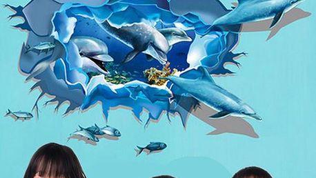 3D samolepka na zeď - mořské dno s delfíny - dodání do 2 dnů