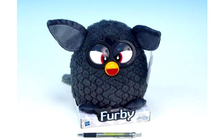 Furby plyš 20cm černý na podstavci