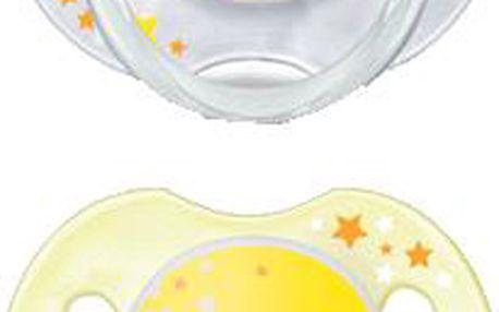 AVENT Žlutý dudlík noční 2ks (silikon) - 0-6 měsíců