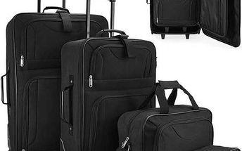 4dílná sada cestovních kufrů v černé barvě