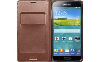 Flip s kapsou Samsung EF-WG900B Galaxy S5, zlatý + 200 Kč za registraci + Kup 3 plať 2