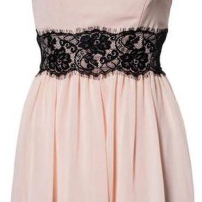 Romantické růžové šaty s černou krajkou Princess