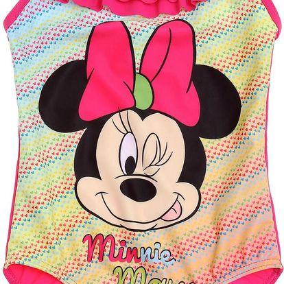 Disney Dívčí jednodílné plavky Minnie - srdíčka, 128 cm