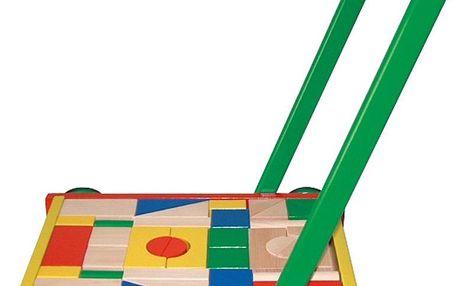Vozík dřevěný velký s kostkami
