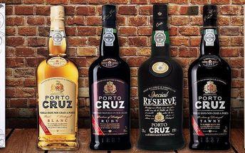 Luxusní portská vína Porto Cruz ze severu Portugalska