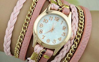 Moderní hodinky s vícevrstvým koženkovým páskem - poštovné zdarma