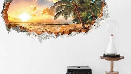 3D samolepka na zeď - Ostrov v západu slunce - poštovné zdarma
