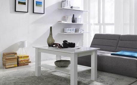 Konferenční stolek s policí T23 bílý lesk