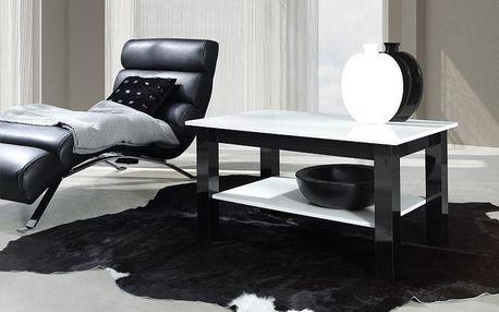Konferenční stolek s policí T25 bílý Černý lesk