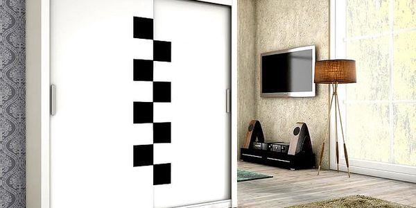 Trendy šatní skříň TOLEDO 180 bílý mat + černé sklo