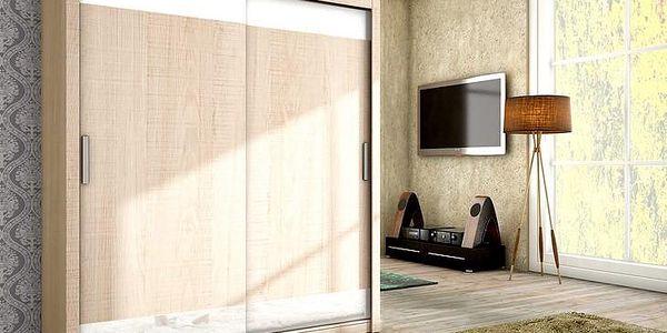 Trendy šatní skříň VERA 180 sonoma + bílé sklo