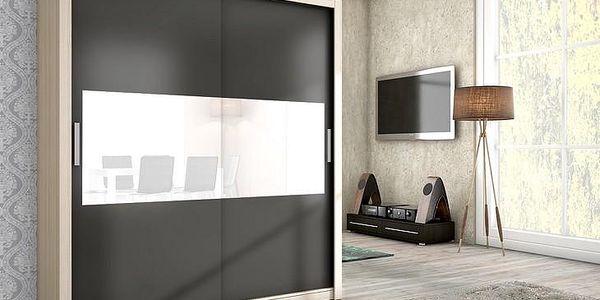 Stylová šatní skříň DUBLIN 180 san remo/grafit mat + bílé sklo