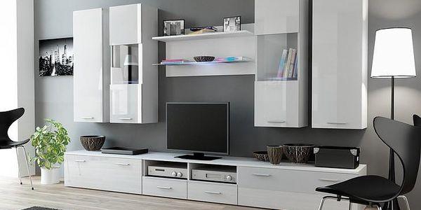 Bílá obývací stěna DREAM 2A Bílý / bílý lesk