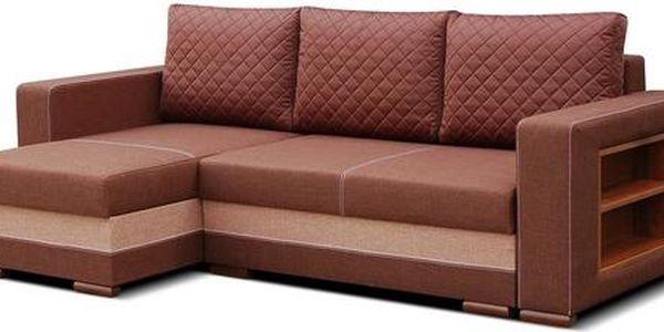 Rohová sedací souprava s úložným prostorem RITA bright brown / crem