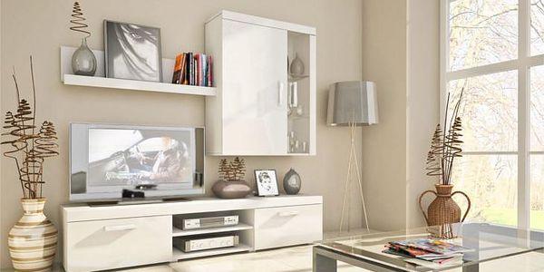 Moderní obývací stěna SAMBA MINI 10 bílý/bílý lesk