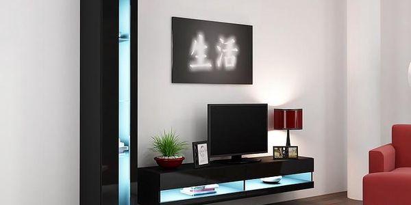 Trendy nábytek do obýváku VIGO NEW 8 Černý / Černý lesk