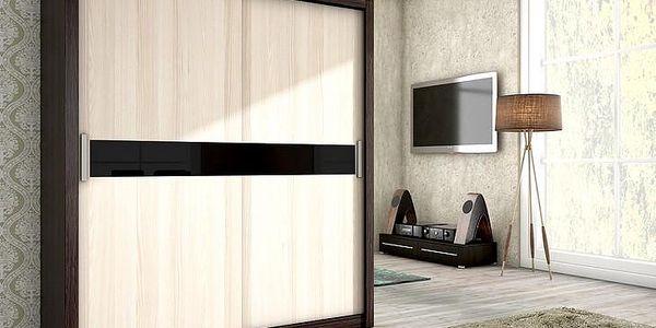 Moderní šatní skříň ADEL 180 cantenbury / jasan + černé sklo