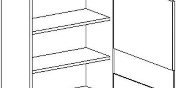 Skříňka horní WS60 GLASS PAS. P/L - SINGIEL blanco/dub lanýž