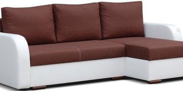 Moderní rohová sedací souprava brown / white