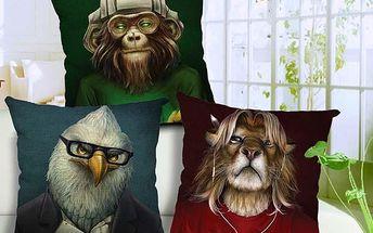 Povlak na polštář s originálními zvířaty