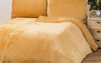 Povlečení Mikroplyš medová, 140 x 200 cm, 70 x 90 cm