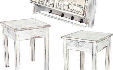Sada závěsné poličky se dvěma stolky Shabby, bílá - doprava zdarma!