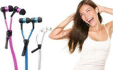Stylová sluchátka s mikrofonem na zip v krásných barvách. Cena včetně poštovného!