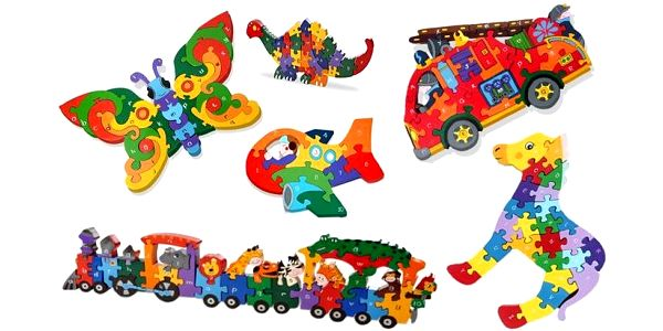 Dřevěné puzzle pro děti s číslicemi a písmenky pro hravé učení