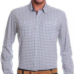 s.Oliver kostkovaná pánská košile M šedá