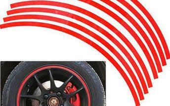 Reflexní nalepovací proužky na kola - červená