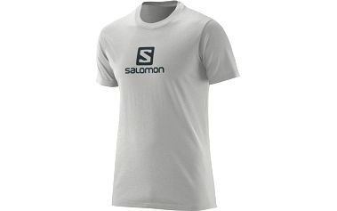 Salomon Ss Logo Cotton Tee M Light Grey Heather L